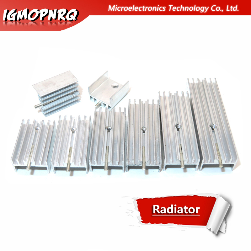 10pcs Aluminum Heatsink Radiator 15*10*16/20/22/25/30/40/50mm Transistor TO-220 With Needle hjxrhgal For Transistors TO220 white