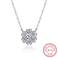 100 Real 925 Sterling Silver AAA Zircon Snowflake Pendant Necklace Engagement Jewelry For Women Top Quality