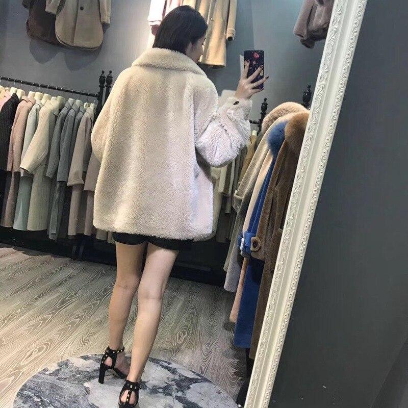 Filles Dames Russie 2018 Veste Poches red green Chaud Laine Mouton Européenne Khaki Hiver Nouveau Épais Manteaux De Femelle Naturel Mode camel Fourrure Light O4qpFgO