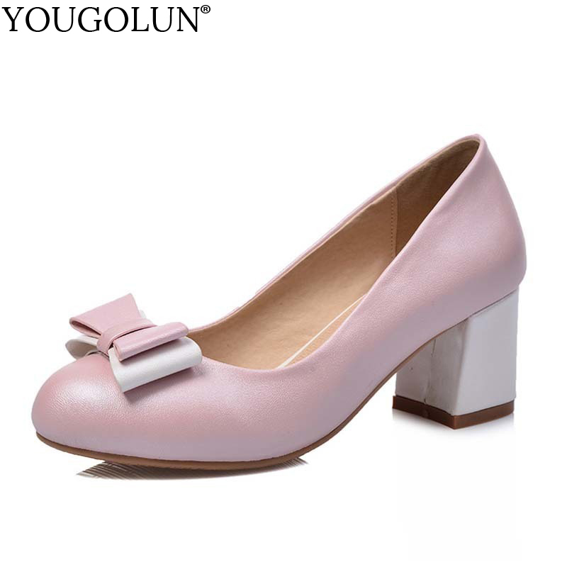 YOUGOLUN Women Pumps 2018 Spring Autumn Woman Thick Heel 5.5 cm Mid Heels White Pink Blue Round toe Bowknot Party Shoes #A-044 xiaying smile woman pumps shoes women spring autumn wedges heels british style classics round toe lace up thick sole women shoes