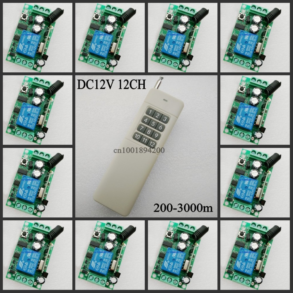 3000M 12CH RF Wireless remote control switch system 1 (controller)transmitter +12 receiver(switch)12V 10A Toogle Momentary dc24v 12ch rf wireless remote control switch system receiver