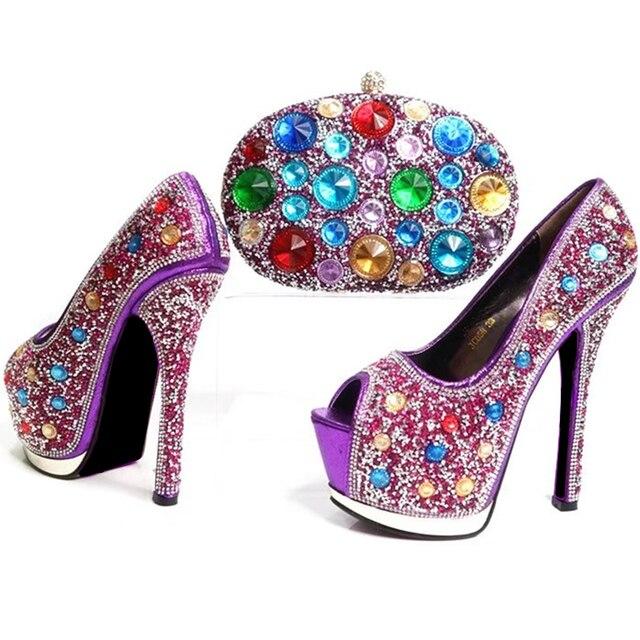 7d1d216335 Neue Ankunft Lila Farbe Italienische Schuhe Damen Schuh und Tasche Set  Verziert mit Strass Italien Schuh