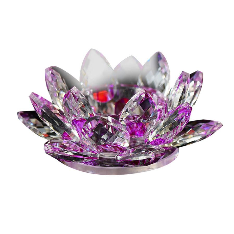 8 Colors Crystal Glass Lotus Flower Candle Tea Light Holder Buddhist