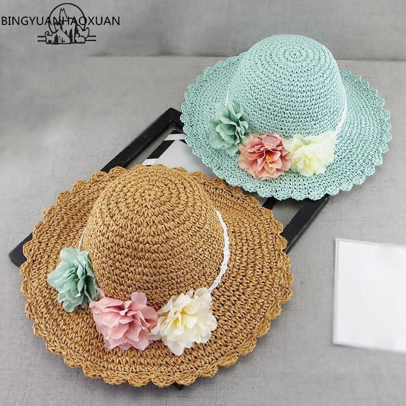 BINGYUANHAOXUAN 2018 New  Korean Spring Summer Handmade Flowers Children Straw Hat Baby Girls Beach Hats Foldable Kids Sun Hat