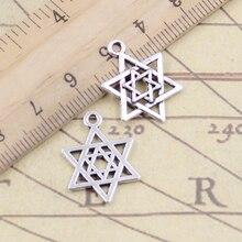 Charms Star Pendants David-Shield Tibetan Handmade-Craft Jewelry-Making Silver-Color