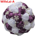 Custom Dark Purple White Roses Half Ball Holding Wedding/Bridesmaid Bouquets de mariage ramo de la boda Artificial Bouquets W224