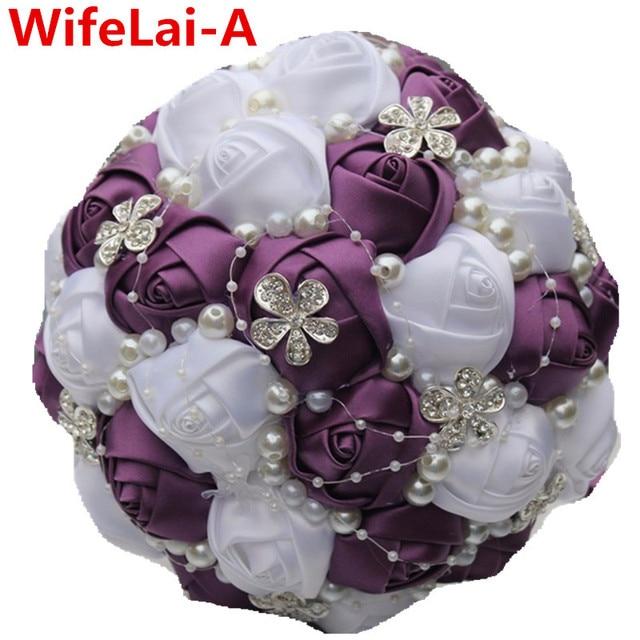 Custom Dark Purple White Roses Half Ball Holding Wedding/Bridesmaid Bouquets de mariage ramo de la boda Artificial Bouquets W224