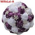 Personalizada Oscuro Púrpura Rosas Blancas Media Bola Celebración de La Boda/la Dama de honor ramo de la boda Ramos Artificiales Ramos de mariage W224