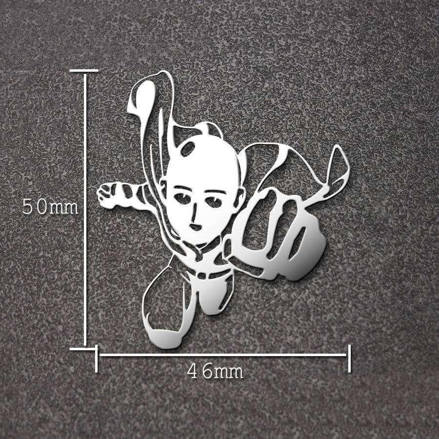 Hot Anime ONE PUNCH MAN Saitama Sticker Luxury Mobile Phone Laptop Sticker Car Motorcycle Decal DIY 3D Metal Stickers