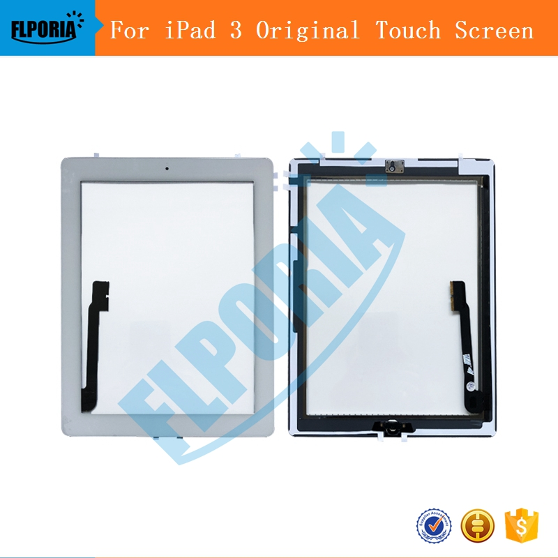 Original For iPad 3 Digitizer Touch Screen Front Display Glass Assembly Includes Home Button and flex Camera Holder frame Tools 100% original for samsung galaxy note 3 n9005 lcd display screen replacement with frame digitizer assembly free shipping