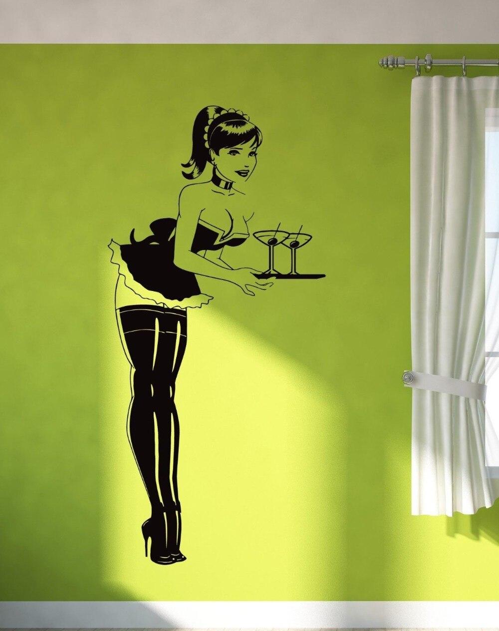 Hot Sexy Girl Teen Woman Vinyl Wall Decal Short Skirt In Stocking font b Server b
