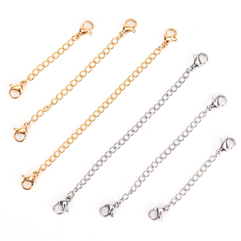 5/7.5/10cm Tone Extended Extension Tail Chain Lobster Clasps Connector For DIY Jewelry Making Findings Bracelet Necklace