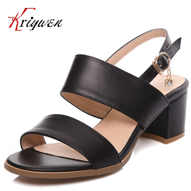 Plus size 33-43 cowhide leather soft Fashion Open toe Brand Women Thick High Heel sandals Causal Dating party dress Women Shoes