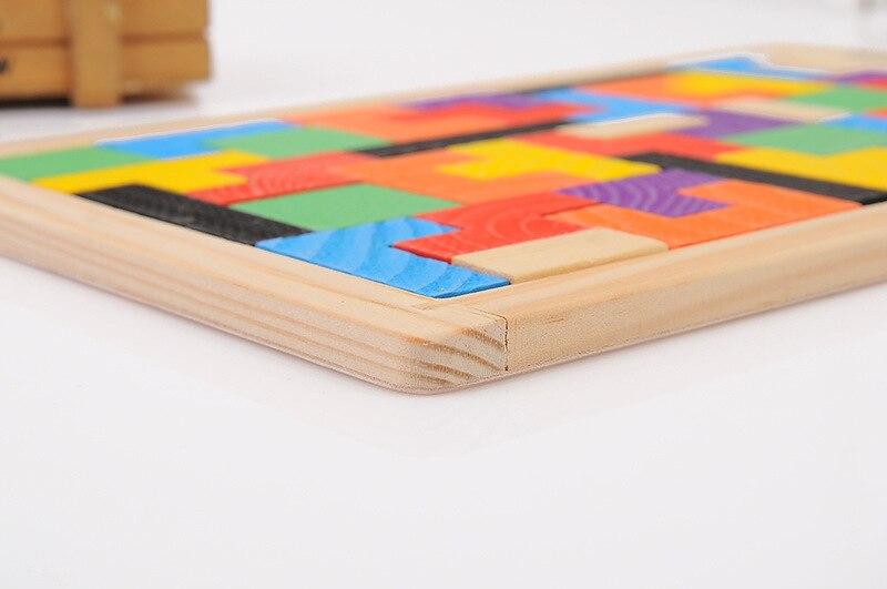 Vruće prodaja šarene drvene tangram mozgalice puzzle igračke - Igre i zagonetke - Foto 5
