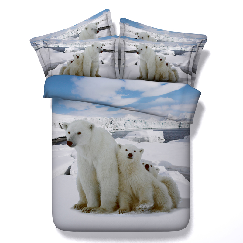 3d polar bear printed bedding sets queen king single sizes kids bedspreads 3/4pc comforter cover white bed linens boy 500tc new