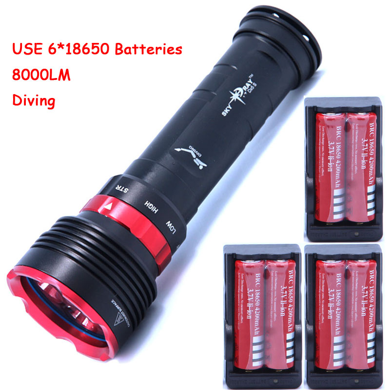 diving 8000lm underwater flashlight 5 x cree XM-L L2 LED torch light waterproof brightness Lamp led Lantern +6*batteries+Charger 5x xml l2 12000lm led waterproof diving flashlight magswitch diving torch lantern led flash light 2x18650 battery charger