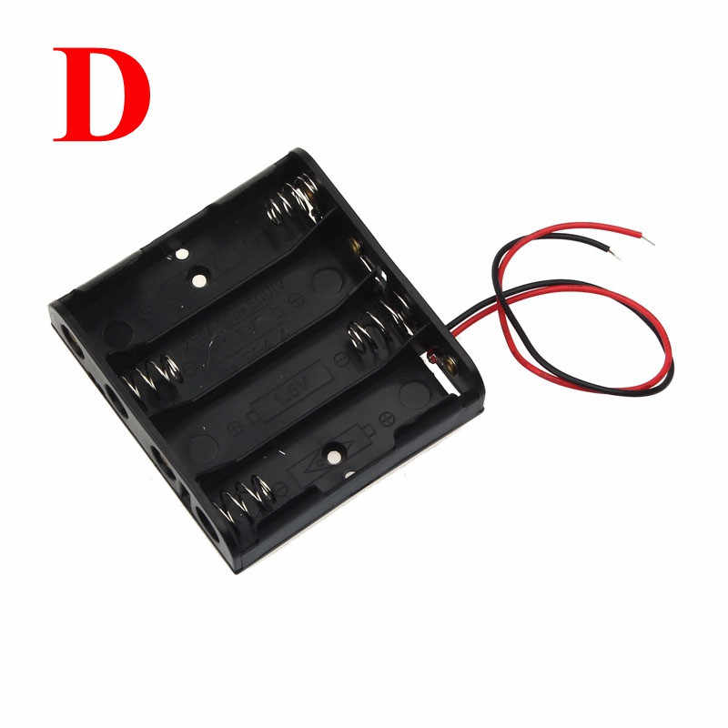 Black Plastic AA Size Power Battery Storage Case Box Holder Leads With 1 2 3 4 Slots AA Size Power Battery Storage Case Box 2.26