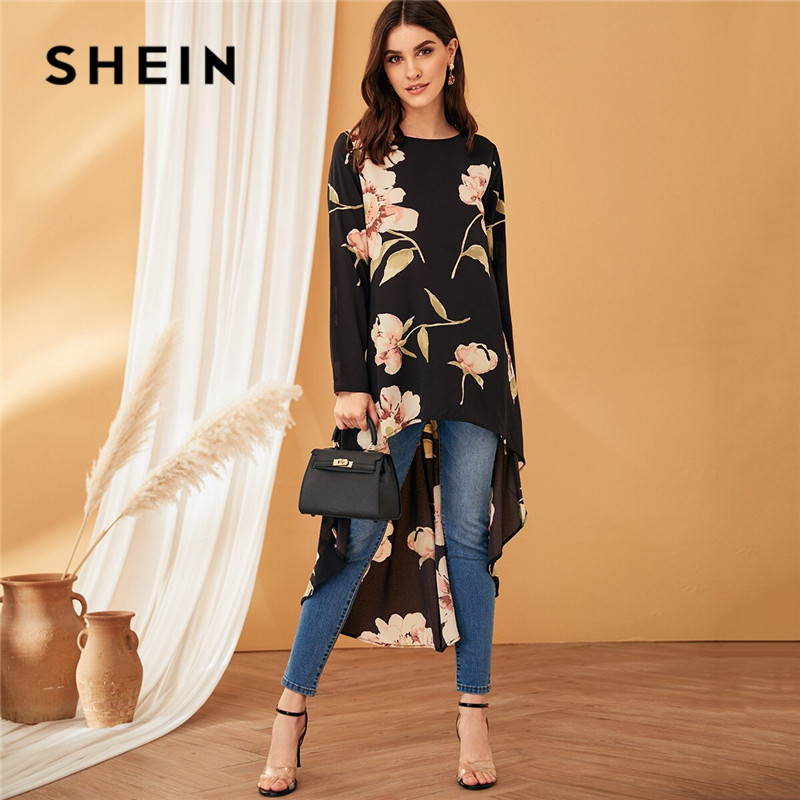SHEIN Floral Print High Low Hem Women Blouse 2019 Black Round Neck Long Sleeve Spring Summer Blouse Asymmetrical Ladies Tops