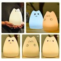 Silicone Mèo Ánh Sáng Ban Đêm Đầy Màu Sắc Dễ Thương Động Vật Phim Hoạt Hình Có Thể Thay Đổi LED Bảng Đèn USB Sạc Cầu Vồng Màu Bên Cạnh luminaria