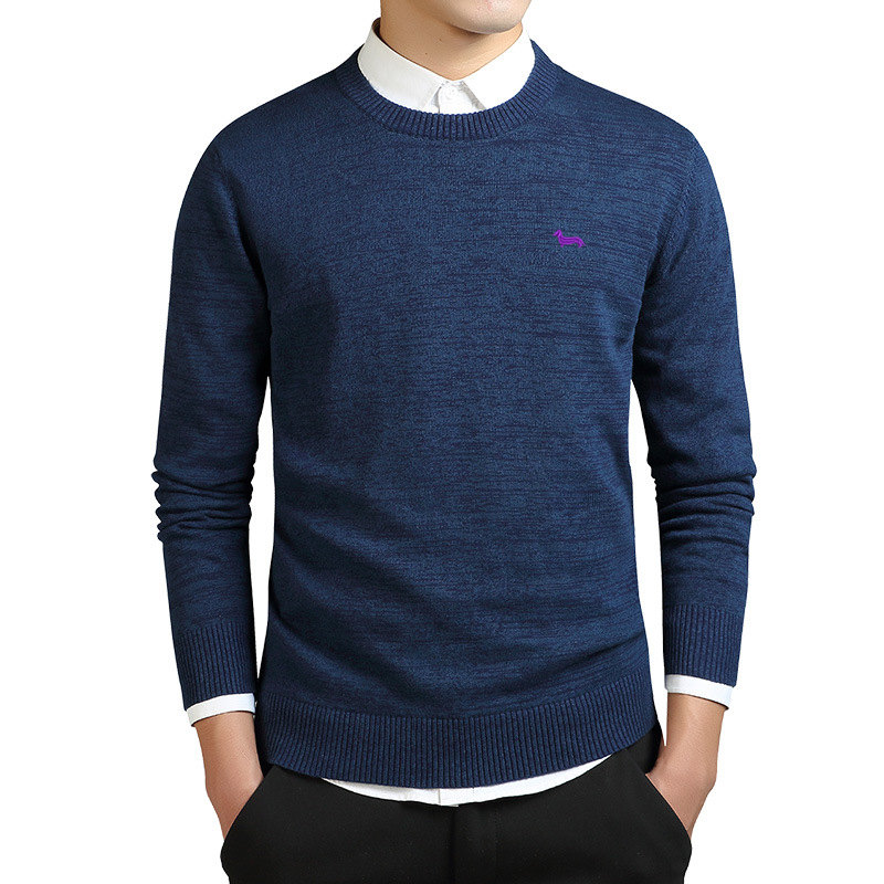 2019 Brand 100%cotton New Spring Fashion Casual Knitted Sweater Mens Harmont Solid Pullover Men Blaine O-neck Embroidery Sweater