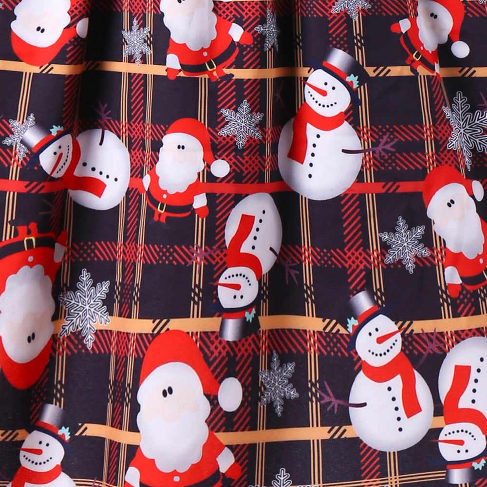 d909754de6a0 ... Wipalo Christmas Plus Size Lace Insert Sleeveless 50s Swing Dress Santa  Claus Print Plaid Vintage A ...
