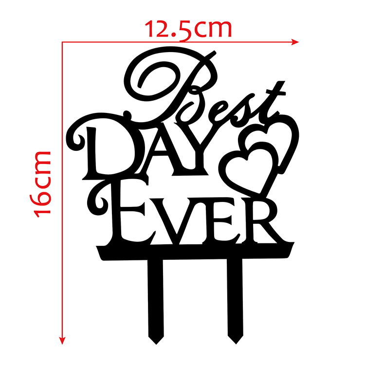 Best Day Ever Love Heart Wedding Cake Flags Black White Gold Silver Acrylic Cake Topper Wedding Anniversary Party Cake Decor-2