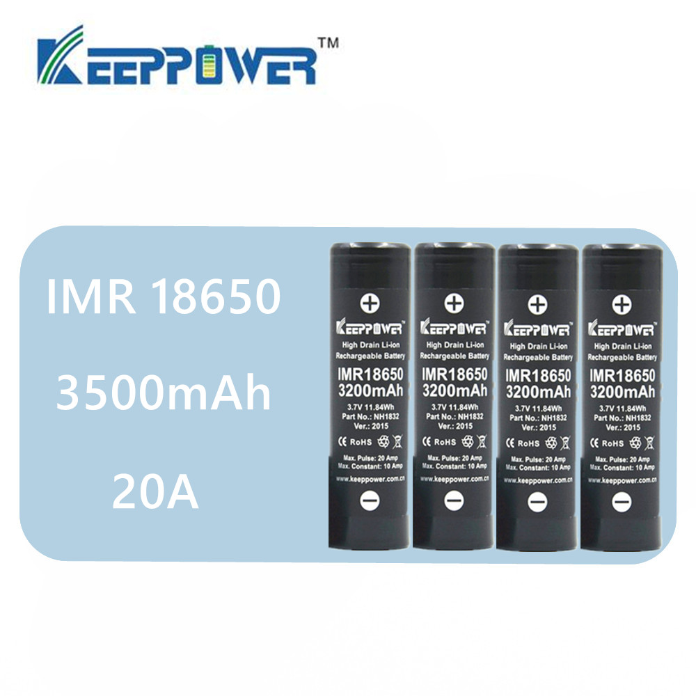 <font><b>4</b></font> <font><b>pcs</b></font> Original Keeppower KP IMR <font><b>18650</b></font> <font><b>battery</b></font> IMR18650 3500mAh 3.7V max 20A discharge high power <font><b>battery</b></font> NH1835 image