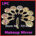 U119 Envío Gratis Rhinestone Retro Ladies Maquillaje Compacto Pock Espejo de Mano Del Pelo Peine Conjunto