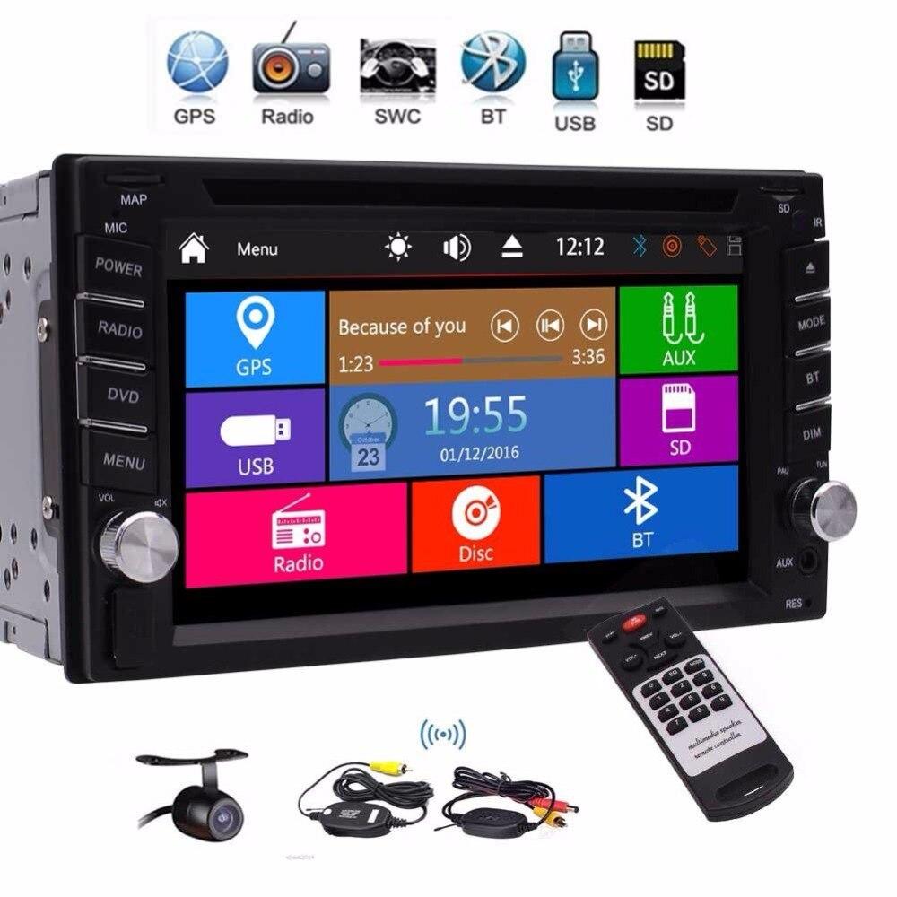 2 Din Car Stereo GPS Navigation support 1080P DVD CD Audio Player GPS Sat Nav Radio Bluetooth USB SD AUX Wireless Rear Camera цена 2017