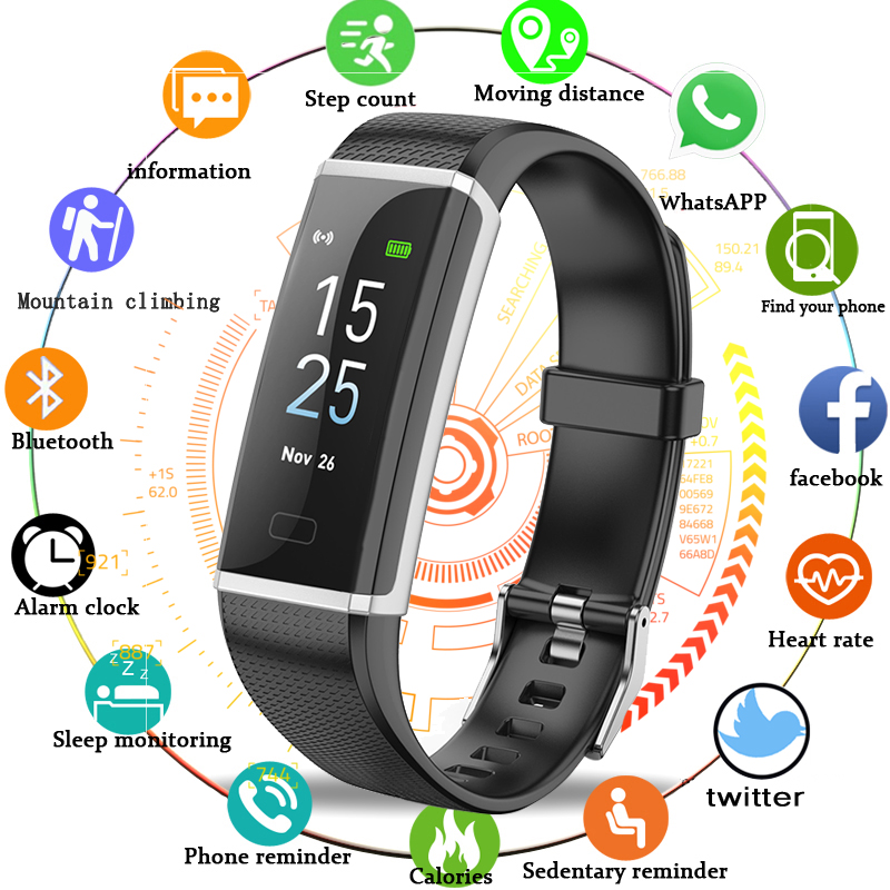 BANGWEI New Smart Watch Men Women Fitness Watch Big Touch Screen OLED Message Heart Rate Time IP68 Waterproof Smart Sport Watch