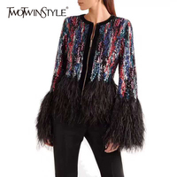 TWOTWINSTYLE Patchwork Feather Tassel Coat Women Long Sleeve Sequins Jackets Tops Female 2018 Autumn Fashion Elegant Clothes New