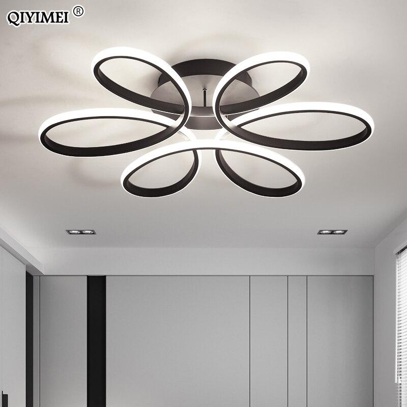 White Black coffee Modern LED chandelier for living room bedroom dining room aluminum body Dimming home