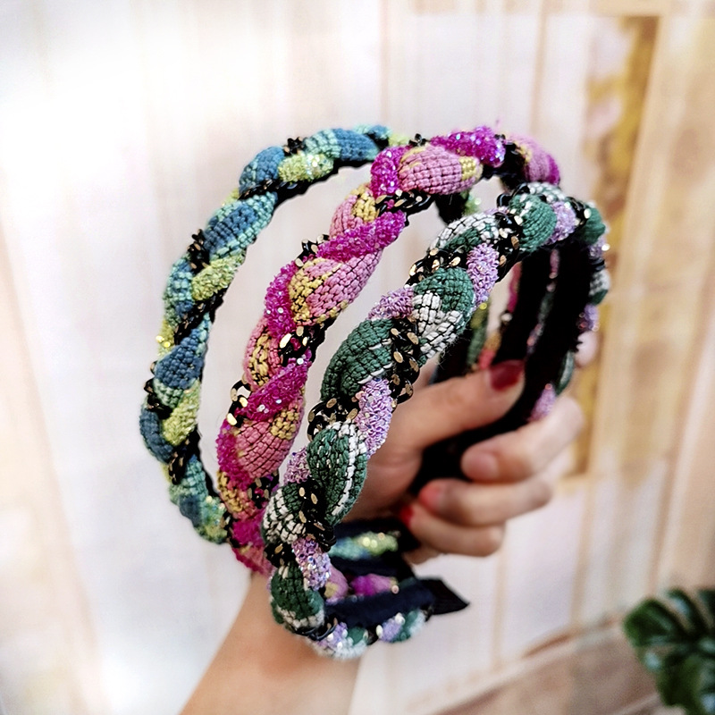Xugar Hair Accessories Fashion Multicolor Twist Hairband for Women Lady Autumn Handmade Cloth Hoop Headwear