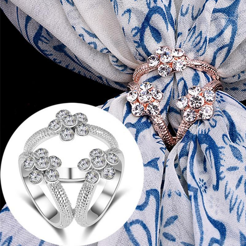 New Design Fashion Scarf Buckle Accessories Brooch Simple Three Square Crystal Shawl Buckle For Women Gift 25*25mm #913