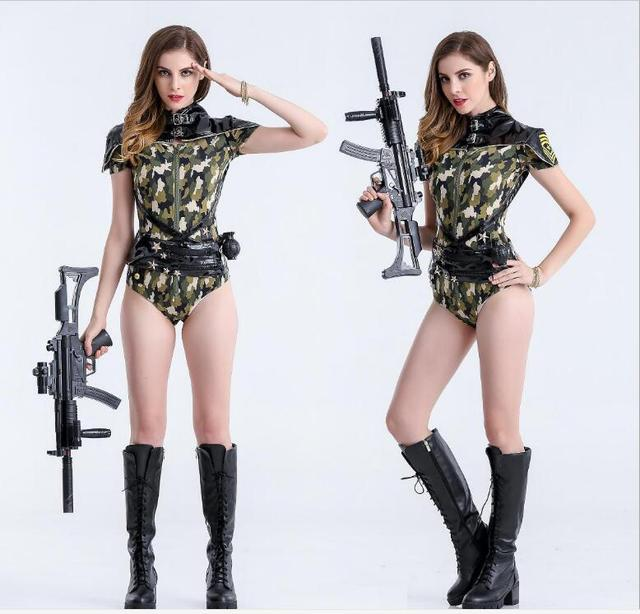 sexy sailor costume adult women army uniform costume halloween sexy party costumes soldier women dress camouflage - Halloween Army Costumes