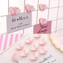 4pcs Love Heart Paper Clips Wooden Plastic Paperclips Office Supplies Craft Memo Clips Diy Clothes Paper Photo Peg Decoration(China)