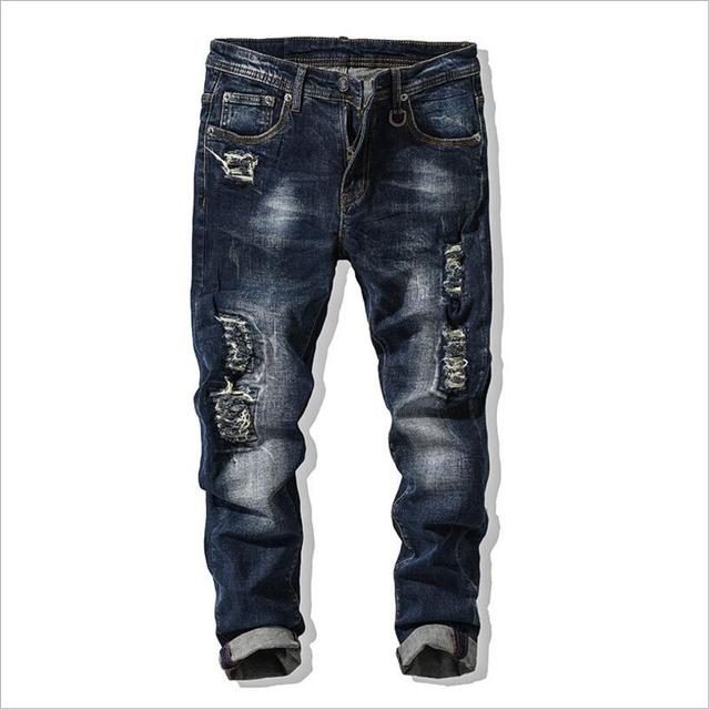 Aliexpress.com : Buy ClassDim Men's Elastic Skinny Jeans Men Holes ...