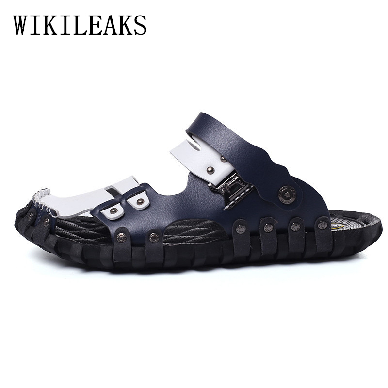 genuine leather shoes men slides mens shoes sandals men shoes sapato masculino erkek ayakkabi sandalias hombre sandalen heren