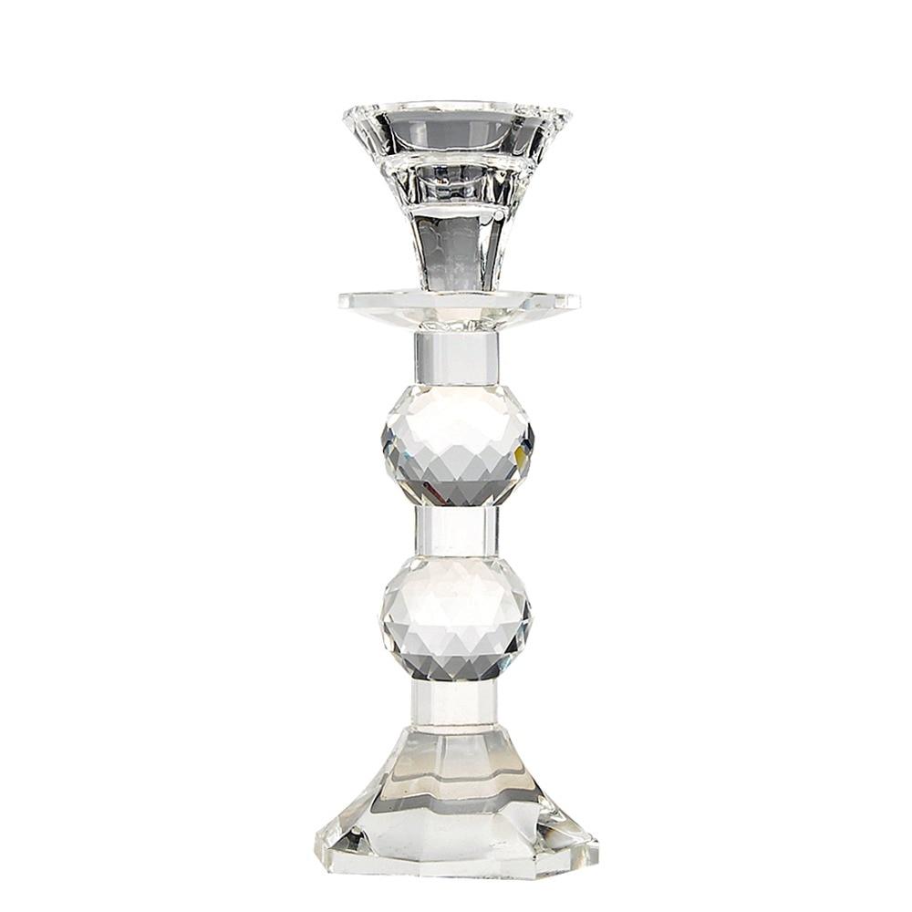 H&D Shining Unique Mercury Crystal Glass Pillar Candle Holder,Home Wedding Decoration Set of 2
