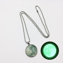 Glowing in the Dark Galaxy Moon Pendant colar Necklace For Women Jewelry Luminous Necklace Vintage Silver Color Chain(China)