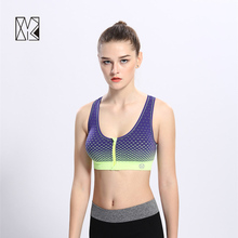 HTLD Gym Front Closure Zipper Running Vest Women Sports Bra Fitness Outdoor Sport Tank Tops Exercise Running Bra Tops Vest 177