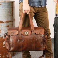 Для мужчин из натуральной кожи путешествовать коричневый чемодан Повседневное Бизнес работы 15 дюймов ноутбук Сумка выходные плеча Сумка ч