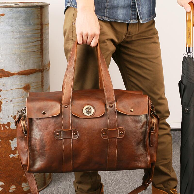 Mens Genuine Leather Travel Duffle Brown Suitcase Casual Business Work 15 inch Laptop Handbag Weekend Shoulder Cross Body Bag