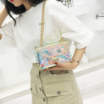 2018 fashion Transparent handbag Clear PVC mini crossbody Bag Laser Holographic Shoulder Bag Female chains messenger bags Purse handbag