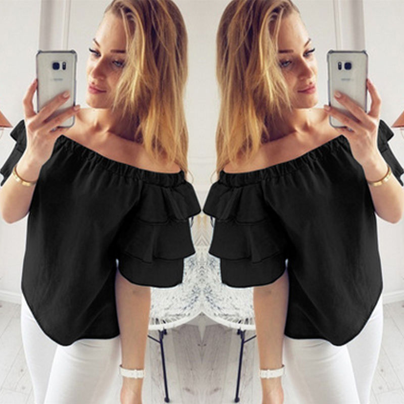 Womens Floral Off Shoulder Loose T-shirt Beach Ladies Casual T Shirt Slash Neck Short Sleeve Tops Top Blusas Femininas