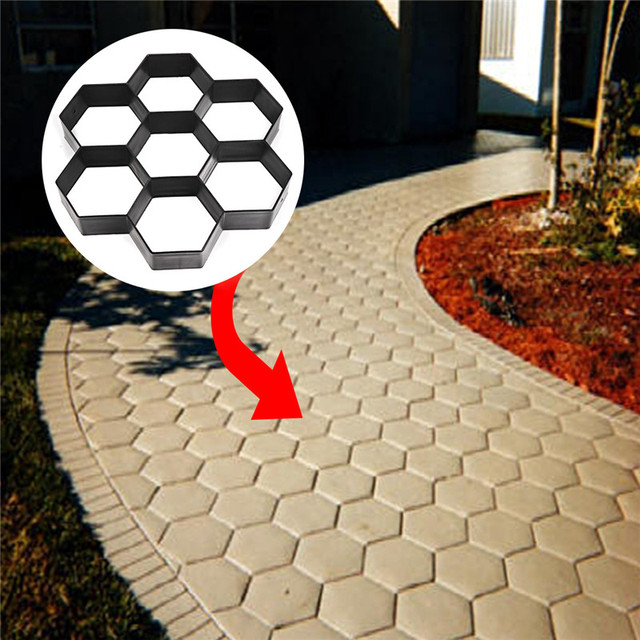 Garden Stone Patio Path Pavement Walk Maker Mould DIY Reusable Concrete  Cement Mold Driveway Paving Stepping