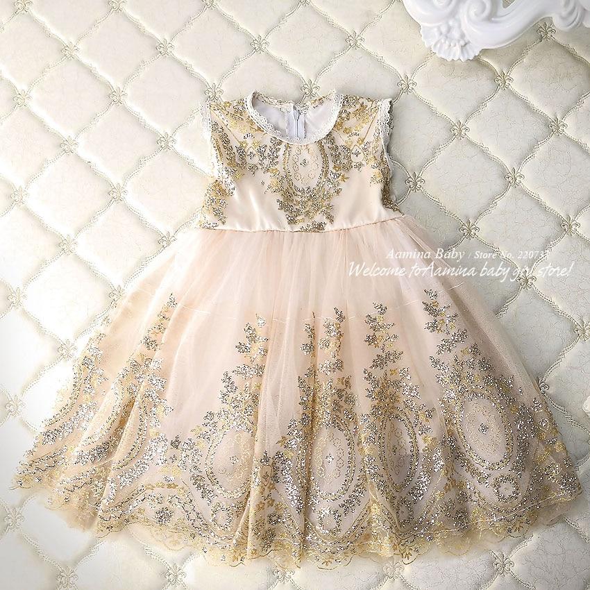 4b21a9c805881 Glitter Golden Sequins Embroidery Toddler Baby Girls Dress Silk Princess Kids  dresses For Girls Party Tutu Wedding Summer Dress-in Dresses from Mother ...