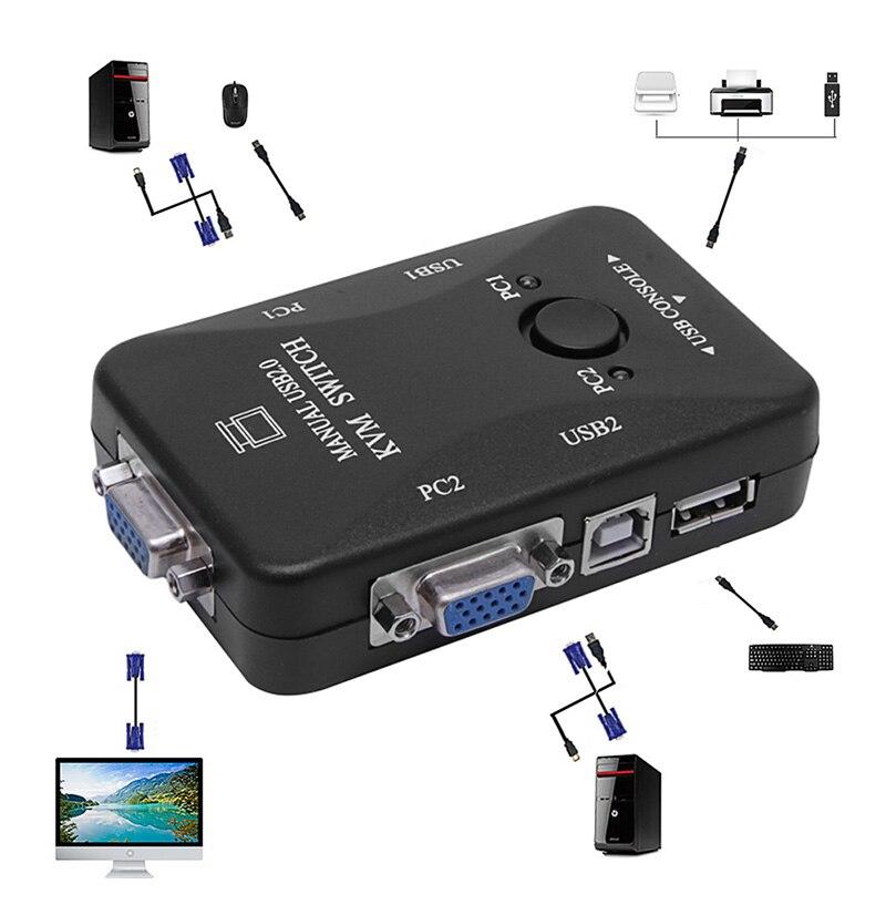 RüCksichtsvoll Manuelle 2 Port Usb 2.0 Vga Kvm Switch Box Für 2 Pc Drucker Maus Tastatur Monitor Schrumpffrei Computer-peripheriegeräte
