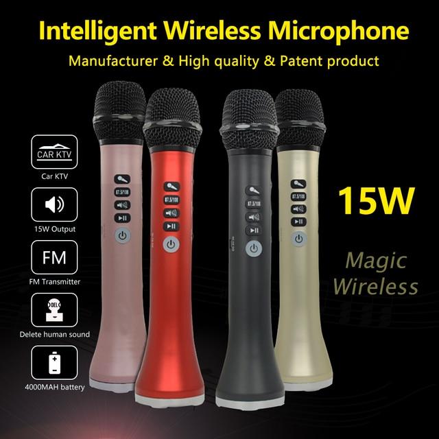XIAOKOA L-698 profesional 15 W USB portátil inalámbrico Bluetooth karaoke micrófono con micrófono dinámico