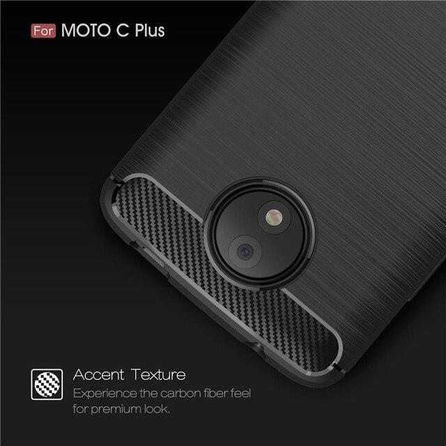 Pour Motorola C Plus étui en Fiber de carbone brossé TPU couverture arrière pour Moto C Plus Coque en Silicone antichoc MotoC